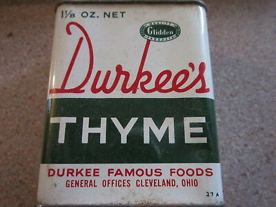 Vintage Durkee's Thyme 1 1/8 ounce spice tin SHIPS FREE