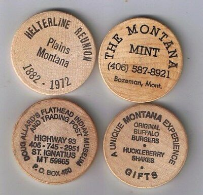 Lot of 4 diff MONTANA Wooden Nickels