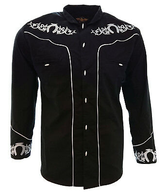 Men's Charro Shirt Camisa Charra El General Western Wear Color Black Long Sleeve