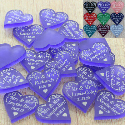 Wedding Favours Personalised Love Heart Table Decorations Swirl Confetti Decor