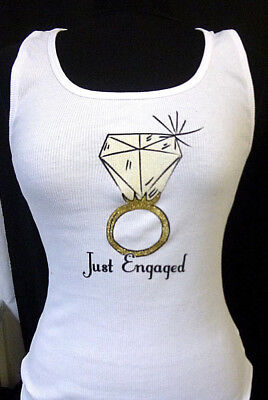 Just Engaged White Ribbed Tank Top with Gold Ring Bling Design