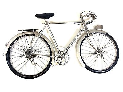 Contemporary Metal Wall Art Decor Sculpture - Silver Racing Pedal Bike
