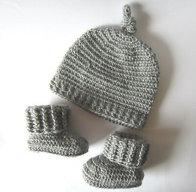 Grey Handmade Baby Knitted Crochet Hat & Booties /  3 - 6 months