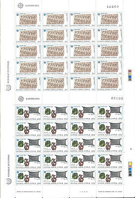 Cyprus EUROPE cept 1983 Without Fijasellos MNH Sheet block / Souvenir