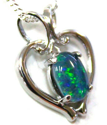 Opal Size 8x6mm Lady Gift Natual Opal Pendant Solid 925 Sterling Silver 18k WGP