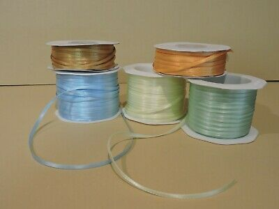 "100 Yards Double Face Satin Ribbon (1/8"" Wide) Silver Roll Is Metallic"