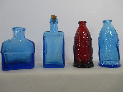 Wheaton Glass Bottles Mini Set of 4 Vtg 1970 Corn Cob Docs Tuckahoe Boozs School