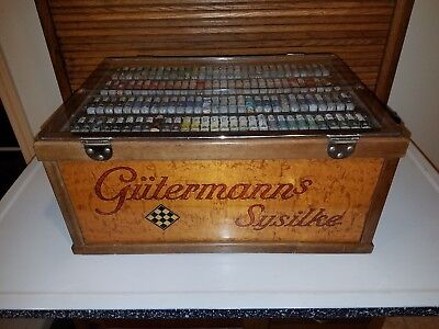 Rare Gutermann Silk Tread Store Display Spool Cabinet Gutermann's Sysilke