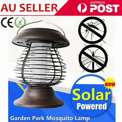 Solar Powered Electric LED Lamp Outdoor IP55 Mosquito Insect Zapper Lamp OZ
