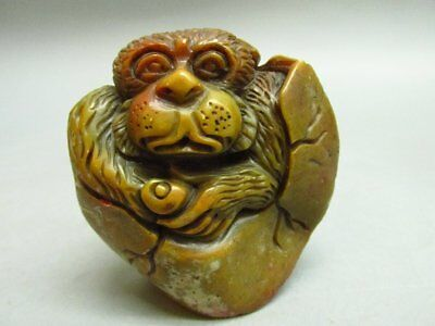 Chinese Shou Shan Stone Carved Monkey Shape Chop Stamp / Seal