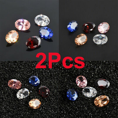 Chic 2Pc Natural Zircon Gems Shining Loose Diamonds Oval Cut Jewelly Gemstones A
