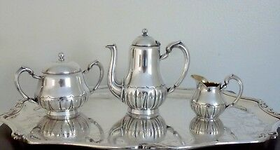 Christofle Antique Silverplated Art Nouveau Tea / Coffee Set 3 Pcs