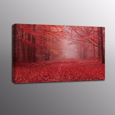 Landscape Large Canvas Print Red Forest leaves Wall Art Painting for Living Room