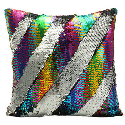 Shinny Sequin Bling Mermaid Throw Pillow Cover Swipe Sofa Cushion Case Cover