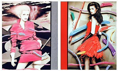 Vogue Exotic Woman in Red Dress Fashion16x20 Two Set Wall Decor Art Print Poster