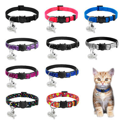 Break Away Cat Collars with Engraved Tags&Bell for Small Puppy Kitten Kitty XS-M