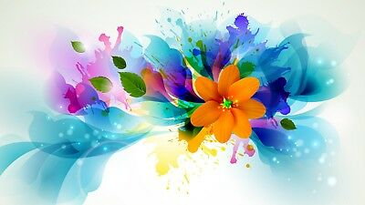 Abstract Flower Stunning Canvas Picture Poster Print Unframed #760