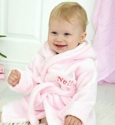 Personalised Hooded Baby Robe Pink Soft Dressing Gown for Baby