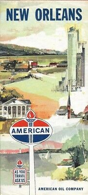1961 AMERICAN OIL COMPANY Road Map NEW ORLEANS Louisiana French Quarter Ferries