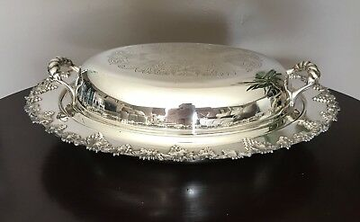 Wm. A Rogers Old English Reproduction Silver Plated Grape Vine Serving Dish