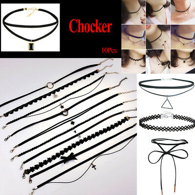10Pcs/Set Tattoo Leather Choker Necklace Women Lace Stretch Retro Sexy Clavicle