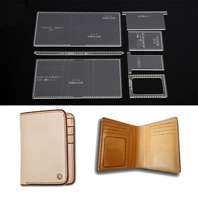 Leather Craft Acrylic Short Wallet Pattern Stencil Template Tool DIY Set DQB-02