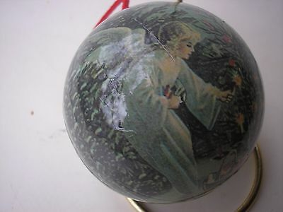 "Angel Christmas Decoupage Ornament Victorian Style 3"" Ball Lighting Tree Candles"