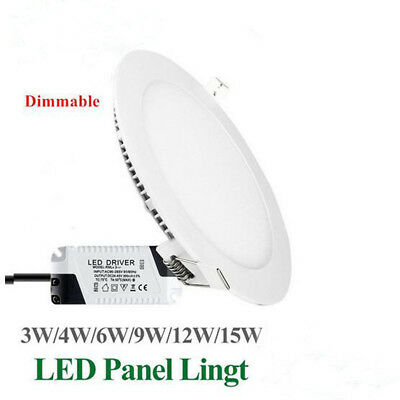 Dimmable LED 3W 5W 7W 9W 12W 15W Recessed Ceiling Downlight Panel Light SALE