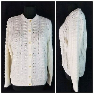 Vintage St Michael Size 18 Large Ivory Knit Cardigan Button Front Sweater