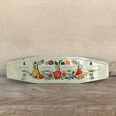 vintage french metal towel cloth rack dishcloth hanger flowers 2501185