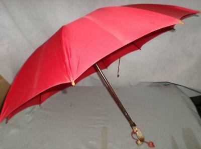 Vintage Red Canopy Umbrella- Hand Carved Parrot Handle With Glass Eyes