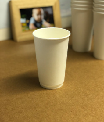 8/12/16oz Disposable White Paper Cups Double Wall Cups Coffee Cups WHITE Lids