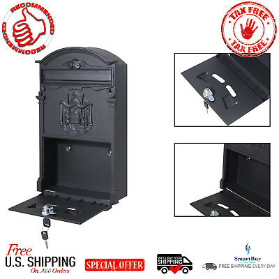 Retro Cast Iron Wall Mount Mailbox Vintage Mail Postal Letter Box W/ Lock & Keys