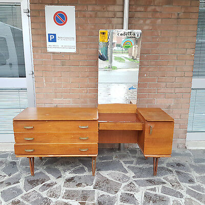 Chest Of Drawers With Dressing And Writing Desk Teak Wood Gio Ponti Style 1950