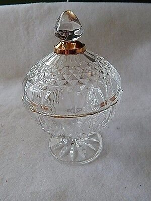 Vintage Cristal D'Arques Gold Trimmed 24% Lead Crystal Candy Dish with Lid