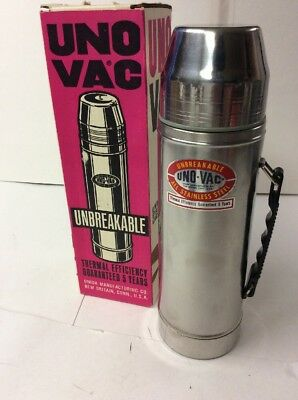 Vintage UNO-VAC Stainless Steel Thermos Original Box 1 Quart 3 Pieces Hunt Fish