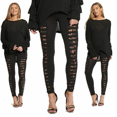 New Womens Girls High Waisted Extreme Ripped Lace Underlay Leggings SIZE 8-14