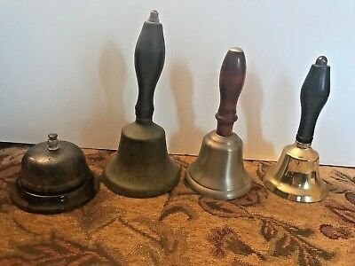 Lot of 3 Wood Handle Brass Bells & One Hotel Counter Bell