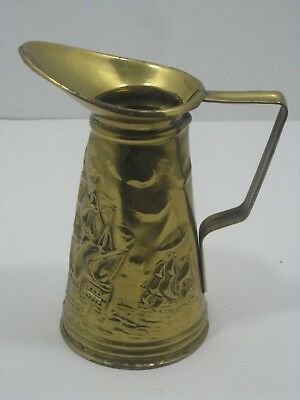 Vintage Elpec Made In England Brass Pitcher Embossed Colonial Ships Scene