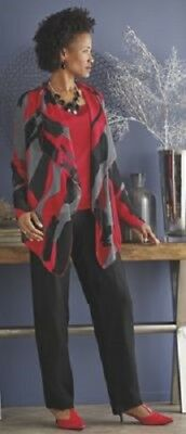 Lana Pant Suit Ashro Black Red Bold 3 Pc set Duster Cardigan 14 16 16W 18W 20W