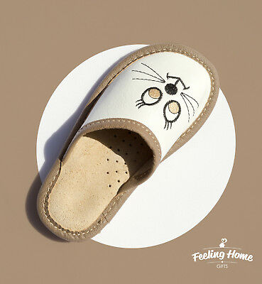 Kids Children Girls Boys 100% Leather Slippers Sandals Home Shoes Cat Kapcie
