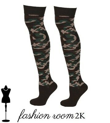 Womens army camo over the knee socks camouflage style adult size fashion