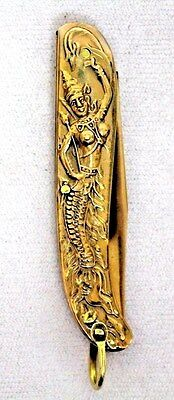 UNIQUE Gold PLATED Asian  MERMAID Pocket KNIFE Serpentine Style with Bail