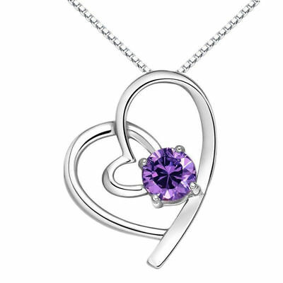 Heart Pendant 925 Sterling Silver Necklace Chain Womens Jewellery Valentine Gift