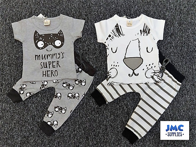 Newborn Baby Boys Spring/Summer 2 piece outfit/set ' mummy's superhero '0-3>9-12