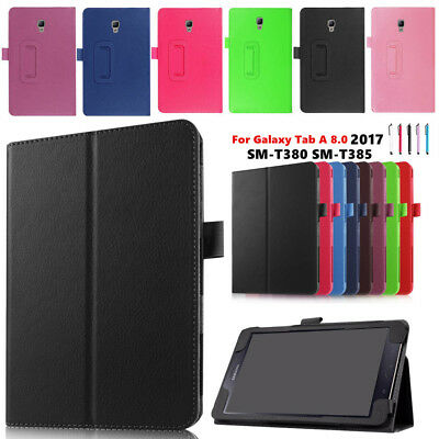 For Samsung Galaxy Tab A 8.0 SM-T380 T385 (2017) PU Leather Smart Cover Case WQ