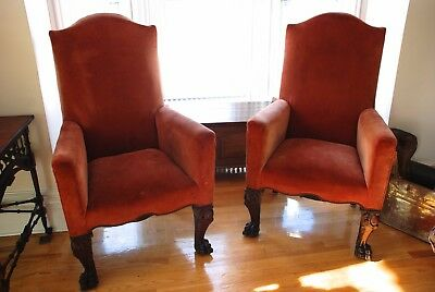 Two Antique High Back Arm Chairs (wood carved front legs)