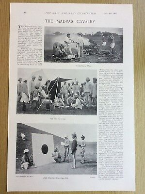 1897 MADRAS CAVALRY - Rifle Practice, Pay Day, Horse Cremation - Antique Print