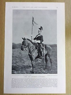 1897 16th Queen's Lancers / Light Dragoons - Antique Print