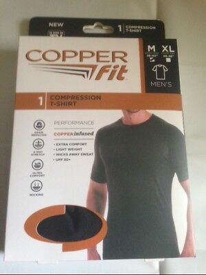 New Copper Fit Compression T-Shirt Wick Away Sweat Black - L/xl 46/48 -New